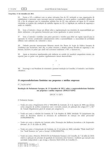 Resolução do Parlamento Europeu, de 13 de setembro - Instituto de ...