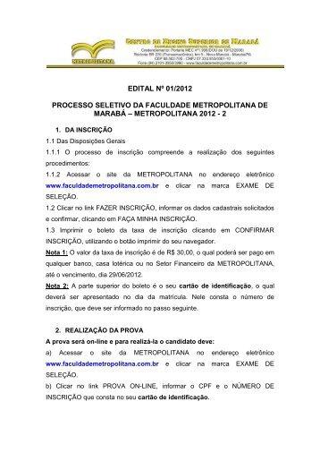 edital do Exame de Seleção - Metropolitana