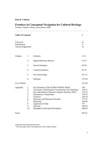 Frontiers in Conceptual Navigation for Cultural Heritage - CiteSeerX