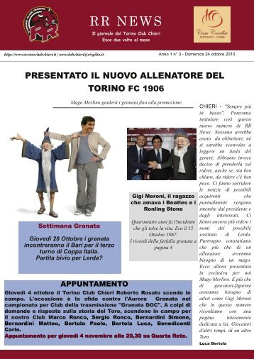 RR NEWS - Torino Club Chieri Roberto Rosato