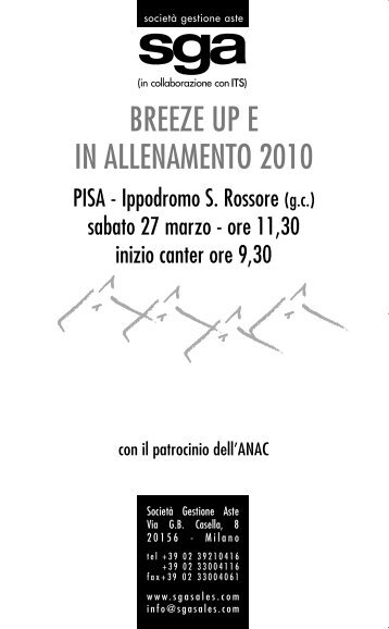 catalogo asta breeze up e in allenamento - SGA Sales