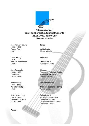 Gitarrenkonzert des Fachbereichs Zupfinstrumente 23.05.2013, 19 ...