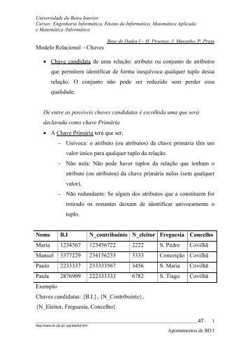 Modelo Relacional – Chaves • Chave candidata de uma relação ...