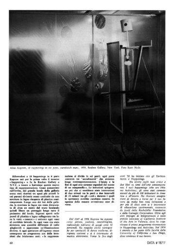 Allan Kaprow, testi di Mirella Bandini, con note + ... - artslab.com
