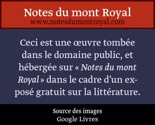 H'StehsJHvftcuet. - Notes du mont Royal