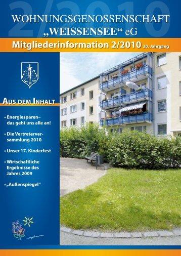 Mitgliederinformation 2/2010 - Wohnungsgenossenschaft ...