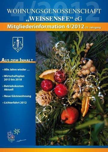 Mitgliederinformation 4/2012 - Wohnungsgenossenschaft ...