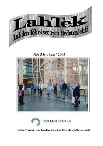 N:o 3 Elokuu / 2003 - Lahden Seudun Toimihenkilöt TU ry