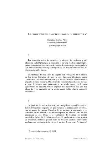 LA OPOSICIÓN REALISMO/IDEALISMO EN LA LITERATURA ...