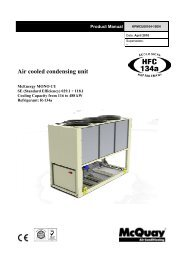 Technical Specification for Air Cooled Condensing Unit - McQuay