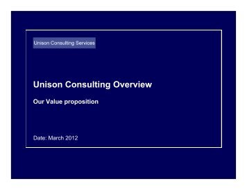 Unison Consulting Overview - Unison Consulting services