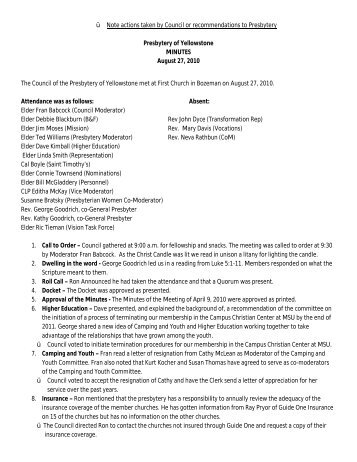 Minutes 10-8-27 - Presbytery of Yellowstone