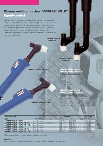 "Plasma welding torches ""ABIPLAS® WELD"" liquid-cooled - Govoni"
