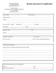 Rental Agreement & Application - Rice Lake Cottage Rentals