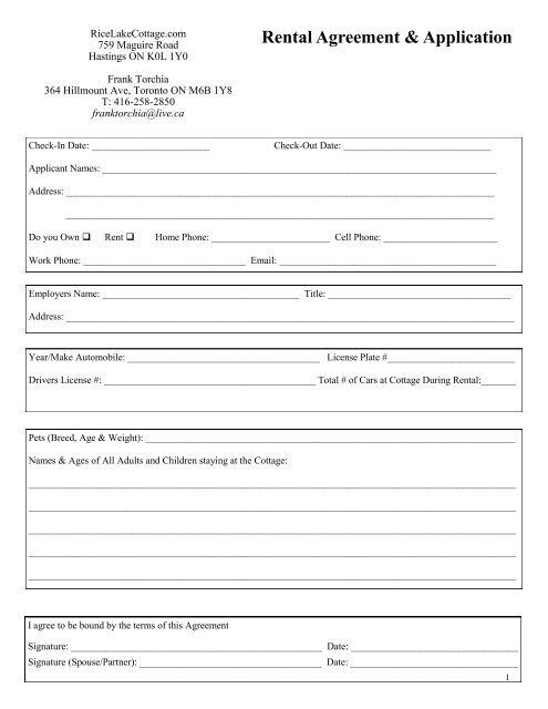 Rental Agreement Application Rice Lake Cottage Rentals