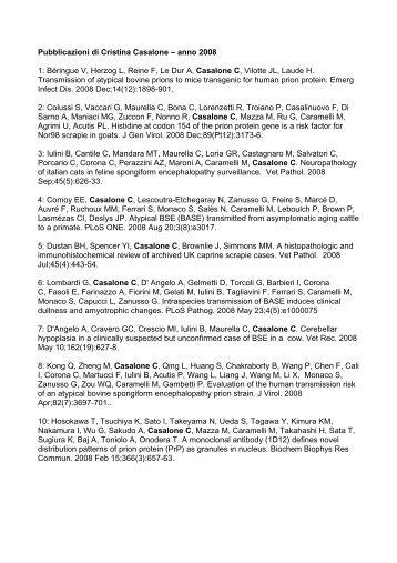 Pubblicazioni di Cristina Casalone – anno 2008 1: Béringue V ...
