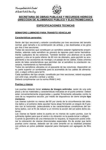 Especificaciones Tecnicas Para El Santa Fe Ciudad