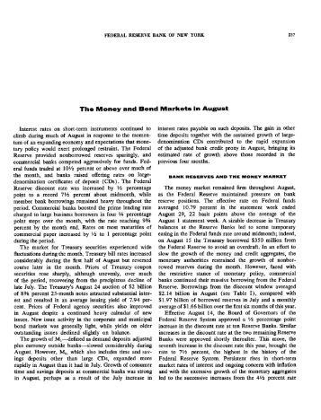 The Money and Bond Markets in August 1973 - Federal Reserve ...
