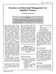 Ove ew of Menstrual Management for Disabled Women by Bridget ...