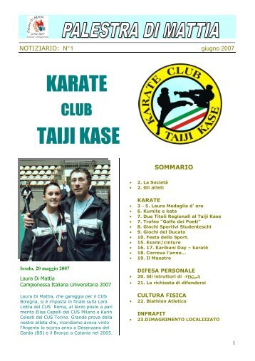 Notiziaro n. 1 - Karate Club Taiji Kase