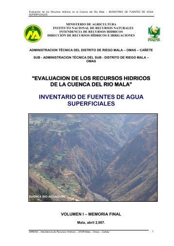 Evaluación de los Recursos Hídricos en la Cuenca del Río Mala