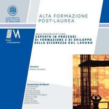 alta formazione post-laurea - Università degli studi di Bergamo