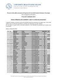 Convocazione dei candidati in ordine alfabetico - Scienze ...