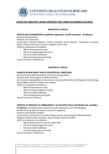 elenco corsi per sito - Università degli studi di Bergamo