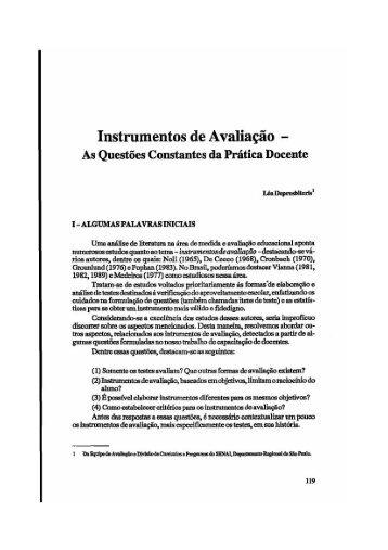 Instrumentos de Avaliação - - Fundação Carlos Chagas