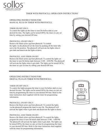 Photocell and Timer Instructions - Sollos Landscape Lighting  sc 1 st  Yumpu & Sollo Magazines