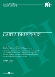 CARTA DEI SERVIZI - Humanitas Mater Domini