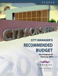FY2014 Recommended Budget - City of Surprise