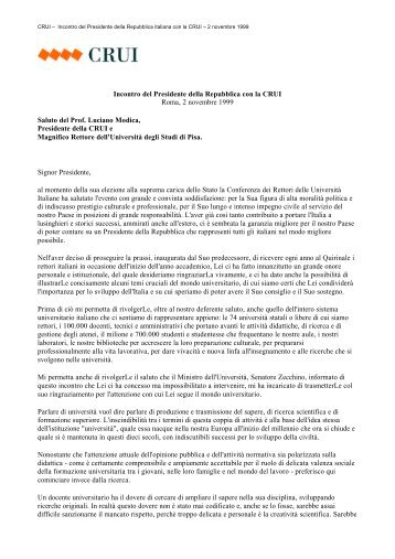 Discorso del Presidente Modica in occasione dell'incontro ... - Crui