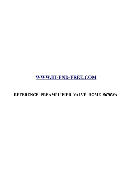 Reference Preamplifier Valve Home 5670WA - Hi-End-Free
