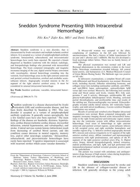 Sneddon Syndrome Presenting With Intracerebral Hemorrhage