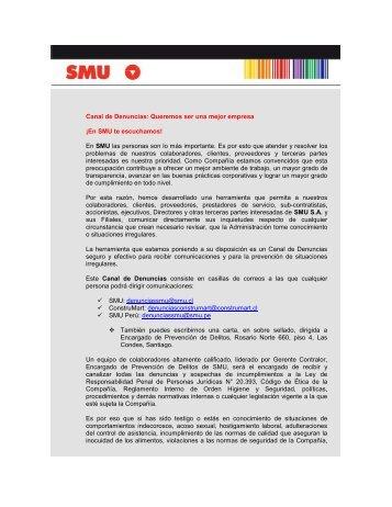 Canal de Denuncias: Queremos ser una mejor empresa ¡En SMU te ...