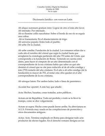 Diccionario Jurídico con voces en Latín - Derecho