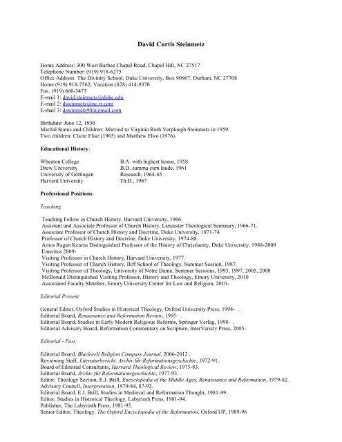 David Curtis Steinmetz - Duke Divinity School - Duke University