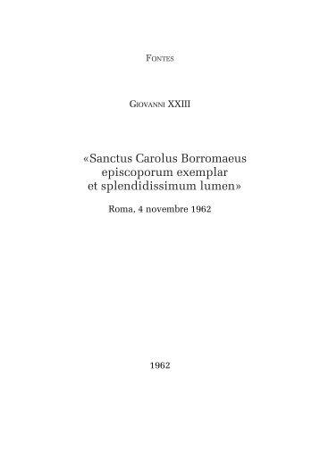 s.s. Giovanni XXIII, Omelia per s. Carlo, Roma