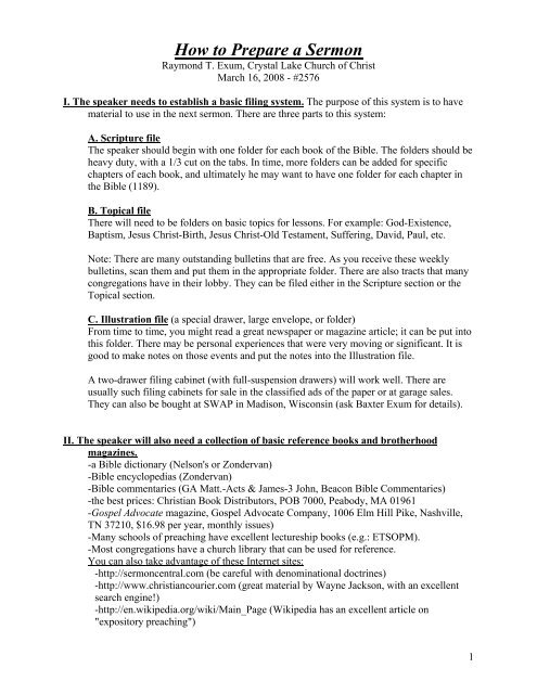 How to Write a Sermon - Four Lakes Church of Christ