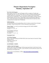 Theatre Department Newsletter Monday, September ... - Hope College