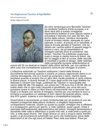130-Van Gogh presso Taschen, di Ingo Walther - Fogli e Parole d'Arte