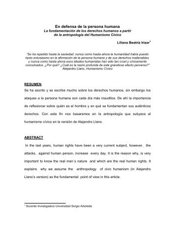 En defensa de la persona humana - Universidad Sergio Arboleda