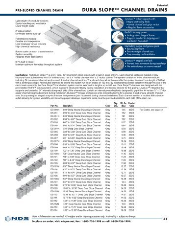DurA SLOPE™ CHANNEL DrAiNS - NDS