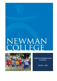 Year 5 Parent Information Booklet 2013 - Newman College