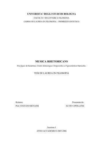 MUSICA RHETORICANS - Elvio Cipollone