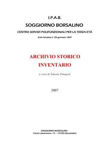 ARCHIVIO STORICO INVENTARIO - Soggiorno Borsalino