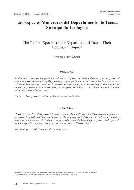 Las Especies Madereras Del Departamento De Tacna Su Impacto