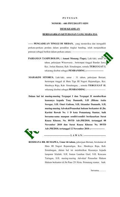 Putusan Nomor 440 Pdt2011pt Mdn Demi Keadilan