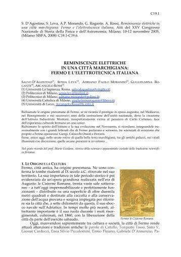 fermo e l'elettrotecnica italiana - Istituto di Fisica Generale Applicata